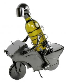 Flaschenhalter Biker - Motorradfahrer Skulptur als Flaschenständer aus Metall