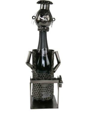 Flaschenhalter Griller Barbecue - Weinflaschenhalter Grillmeister Skulptur aus Metall - Barbecuell