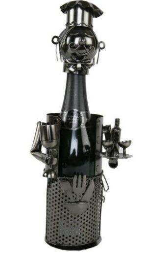 Flaschenhalter Sommelier - Weinflaschenhalter Skulptur Weinkellner aus Metall