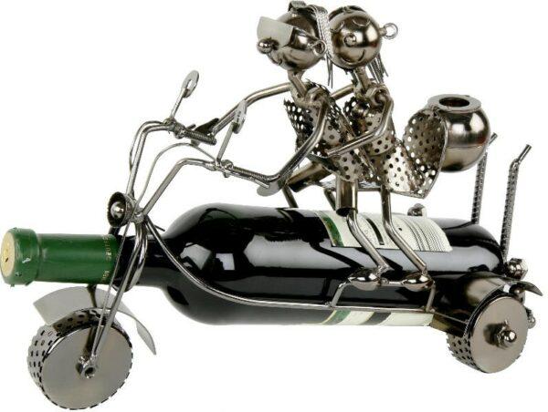 Flaschenhalter Trike Skulptur Liebespaar Trike-Fahrer mitBraut und Faß