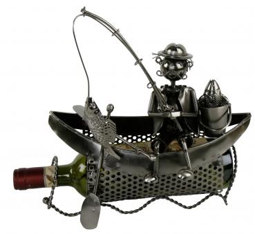 Flaschenhalter Angler im Boot - Weinflaschenhalter Skulptur Bootsfaher mit Angel aus Metall
