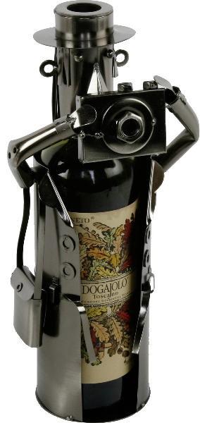 Flaschenhalter Fotograf Weinflaschenhalter Skulptur aus Metall