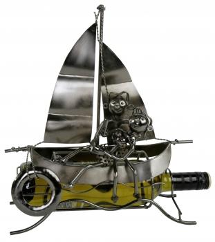 Flaschenhalter Loveboat - Liebespaar im Boot - Segelschiff Weinflaschenhalter Schiff Skulptur Maritim