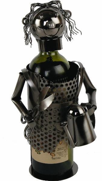 Flaschenhalter Gärtnerin Skulptur, Metall Weinflaschenhalter