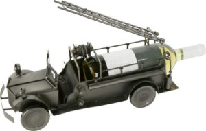 Flaschenhalter Feuerwehrauto Skulptur - Metall Weinflaschenhalter