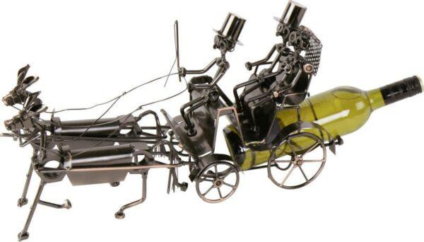 Flaschenhalter Hochzeitskutsche Skulptur - Pferdekutsche mit Brautpaar Flaschenständer