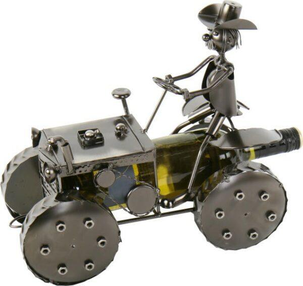 Flaschenhalter Traktor Bulldog - Weinflaschenhalter Farmer mit Trecker aus Metall