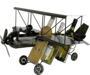 XXL Flaschenhalter Flugzeug - Propellerflugzeug Flaschenständer für 3 Flaschen - Skulptur Doppeldecker