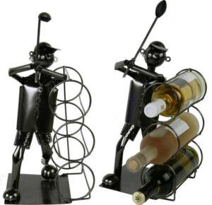 XXL Flaschenhalter Golfspieler Skulptur für 3 Weinflaschen - Flaschenständer Golf