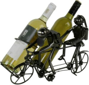 Flaschenhalter Tandem Fahrrad - Weinflaschenhalter Skulptur aus Metall für zwei Flaschen