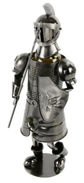 Flaschenhalter Ritter mit Axt und Schild - Weinflaschenhalter Skulptur Mittelalter, aus Metall