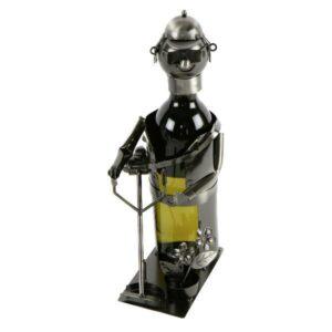 Flaschenhalter Gärtner mit Trimmer - Weinflaschenhalter Skulptur aus Metall