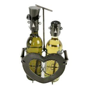 Weinflaschenhalter Herz + Hochzeitspaar Skulptur als Flaschenhalter, silberfarbend - Metall