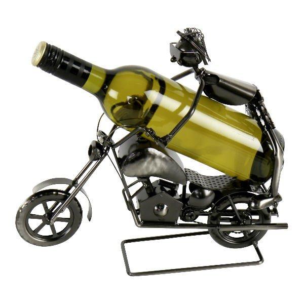 Weinflaschenhalter Stunt-Motorradfahrer - Metall - Motorrad, silberfarbend