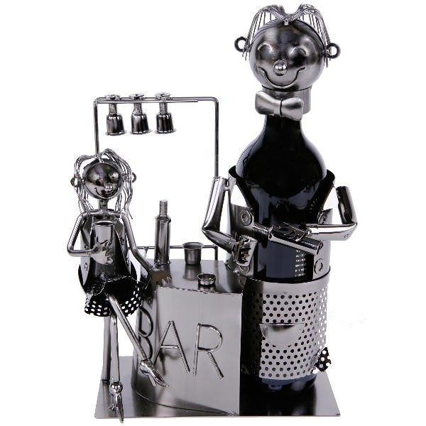 """Bar Flaschenhalter Barkeeper mit Dame Weinflaschenständer """"Bar"""" Skulptur aus Metall"""