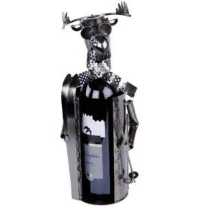 Flaschenhalter Skifahrer Elch Skulptur Weinflaschenhalter Ski-Elch aus Metall