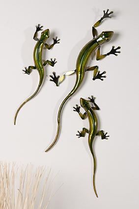 Wandhänger Gecko Metall Wanddeko Salamander Toskana - mediteranes Wandbild