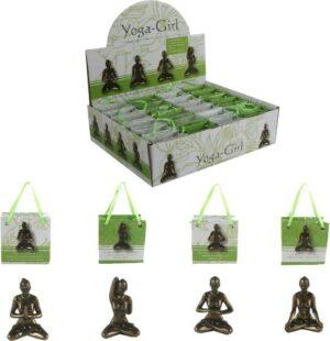Yoga-Girl - Yogafigur in Geschenktüte - Mini Yoga Dame in Bronzeoptik - Fitness Tipp Geschenk Figur
