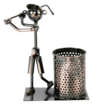 Piccolo Flaschenhalter Golfspieler - Weinflaschenhalter Metall Skulptur Golfer - Golf Stifteköcher