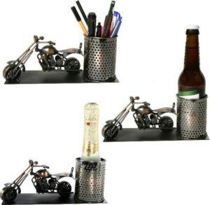 Flaschenhalter Motorrad Skulptur - Piccolo Weinflaschenhalter, Bierhalter, Stifteköcher aus Metall - Harley - Chopper