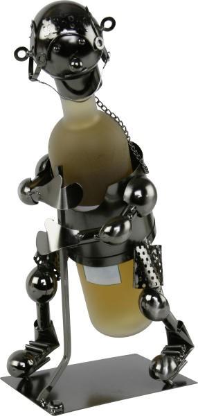 Flaschenhalter Eishockey Spieler- Metall Skulptur