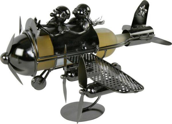 Flaschenhalter Flugzeug - Pärchen im Propellerflugzeug Skulptur als Weinflaschenhalter