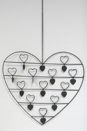 Notizhalter zum hängen, Fotohalter HerzVintage, Metall, mit 12 Fotoclips