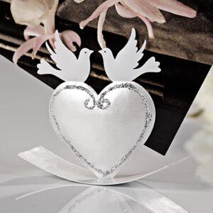 Hochzeit Fotoclip Tauben auf Herz - romantischer Kartenhalter zur Hochzeit
