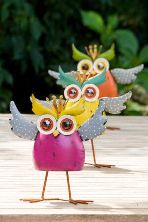 Crazy Owl - Wackeleule - Bunte Eule mit Krone - Königseule in Antikfinish