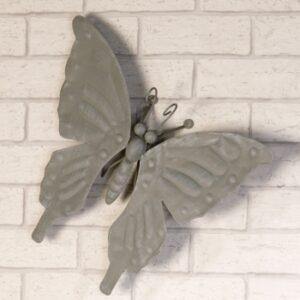 Wandhänger Schmetterling Vintage Wanddeko aus Metall - Wandbild in antik grau