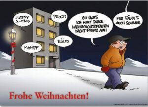 """Weihnacht Minikärtchen """"Mir fällts auch schwer"""" - Comic Karte zur Weihnachtszeit"""