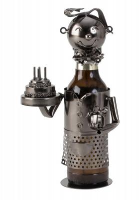 Bier-Flaschenhalter Skulptur Geburtstag - Geburtstagsgratulant mit Geburtstagstorte und Geschenk - Flaschenhalter Happy Birthday
