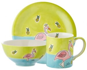 Mila Sammler Set Flamingo - Becher + Teller + Schale