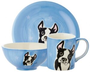 Mila Sammler Set Boston Terrier - Becher + Teller + Schale