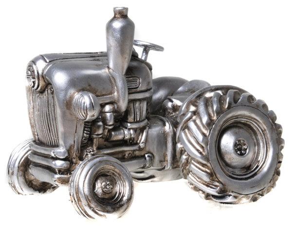 Skulptur Trecker Spardose Traktor, Retro Schlepper antik silber