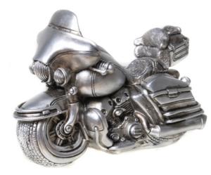 Spardose Motorrad Skulptur Biker Sparbüchse Chopper Retro Design