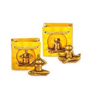 Yoga-Frosch - Yogafigur Frosch in Geschenktüte - Mini Yoga Frosch, gold