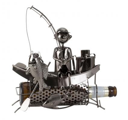 Flaschenhalter Skulptur Angler im Boot - Bier-Flaschenhalter Fischer - Bootsfahrer mit Angel aus Metall