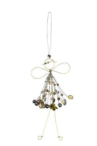 Verzierte Draht Fee zum Aufhängen - Engel mit Perlen - Fensterdekofee in gold 571520-025-226_g