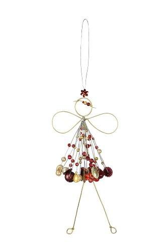 Verzierte Draht Fee zum Aufhängen - Engel mit Perlen - Fensterdekofee in rot gold 571527-025-421_g