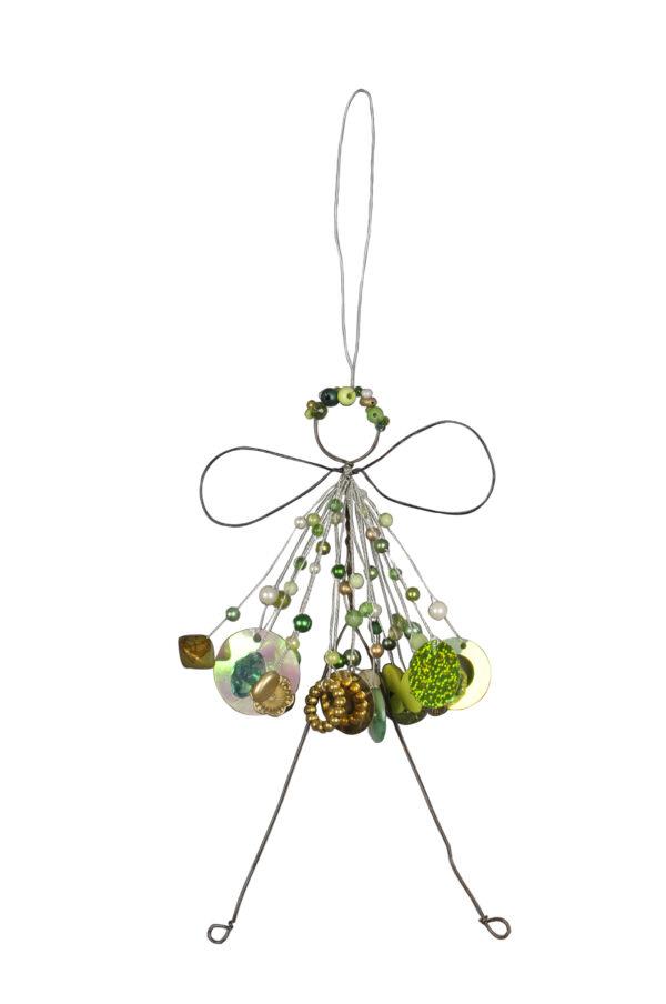 Verzierte Draht Fee zum Aufhängen - Engel mit Perlen - Fensterdekofee in grün gold