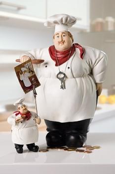 Figur Chefkoch - Dekofigur Kartenhalter oder Spardose - Luigi der Koch - Geschenkidee für Hobbyköche