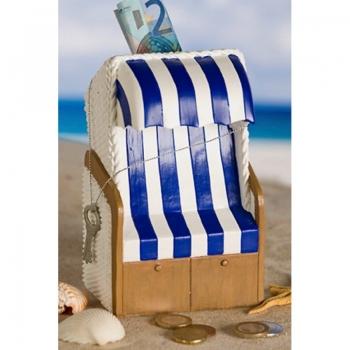 Casablanca Spardose Strandkorb Blau Weiß - Sparschwein Ferien- u. Urlaubskasse maritim