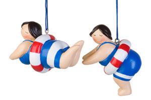 Nostalgie Hängefigur Betty Schwimmerin mit Schwimmring - Rubensmodell - mollige lustige Badedame