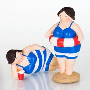 Nostalgie Strand Betty Schwimmerin mit Schwimmring - Rubensmodell - mollige lustige Badedame