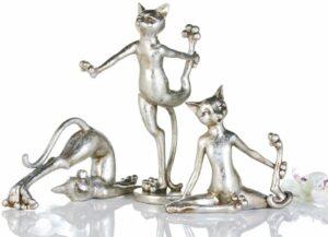 Deko Figur Katze Cat Arobic - sportliche Yoga Katzen - Silber-Antikfinish
