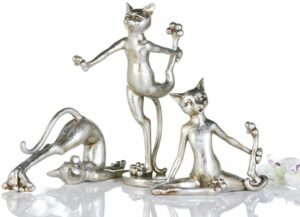 Cat Arobic Yoga Katzen Figuren 3-teilig - sportliche Katze Skulptur, Polyresin, Silber-Antikfinish