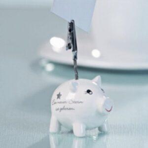 Fotoclip Keramik Schwein - Viel Glück - Ein neuer Stern ist geboren