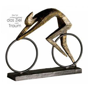 Fahrrad Skulptur Radfahrer - Racer - Bronze-Finish