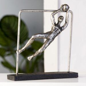Skulptur Torwart Goelkeeper - Sportlerfigur in antik silber - Handball - Fußball